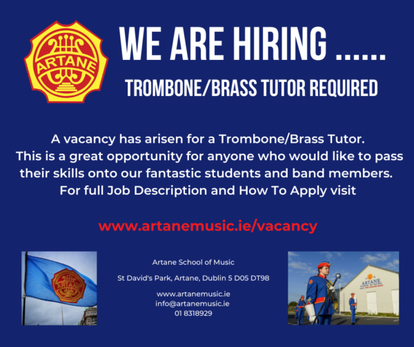Job advert Artane School of Music Trombone / Brass Tutor