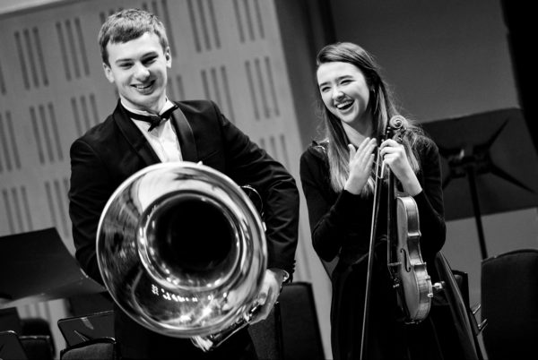 Adam Buttimer and Julieanne Forrest (Leader) from the National Youth Orchestra of Ireland at the Festival. Photo by John Soffe Photography.