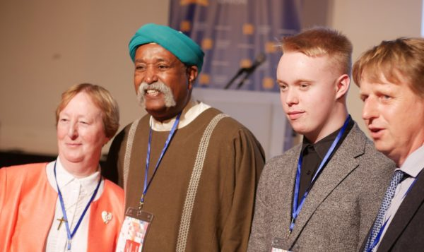 Sister Bernadette Sweeney, Carl Jones and Seamus Doyle with UNESCO Artist for Peace and Secretary of International Music Council's partner organisation, the International Theatre Institute, Ali Mahdi Nouri. Photo by Benjamin Fayolle.