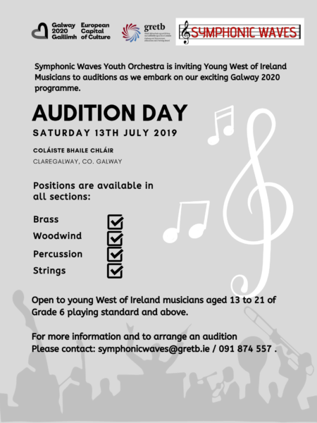 Symphonic Waves July auditions flyer