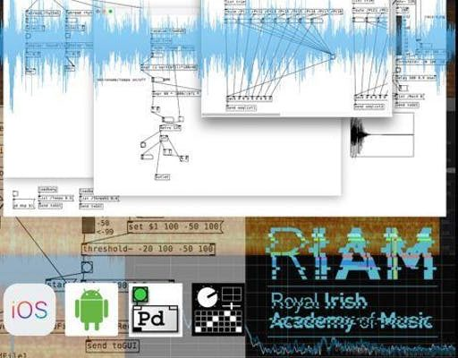 Picture of music technology graphs with RIAM logo