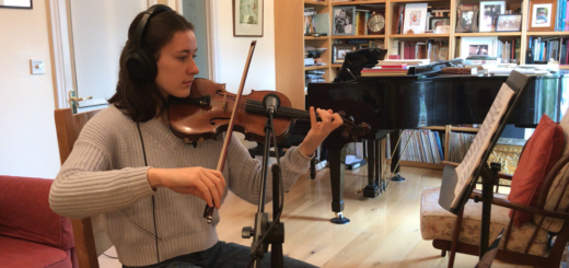 Young musician practising in their own home. Practice club.