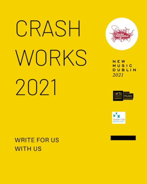 Yellow image with Crash Works 2021 poster