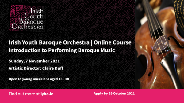 Irish Youth Baroque Orchestra online course flyer