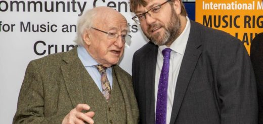 President Michael D. Higgins with Cormac Ó hAodáin at the Forum. Photo by Marc O'Sullivan.