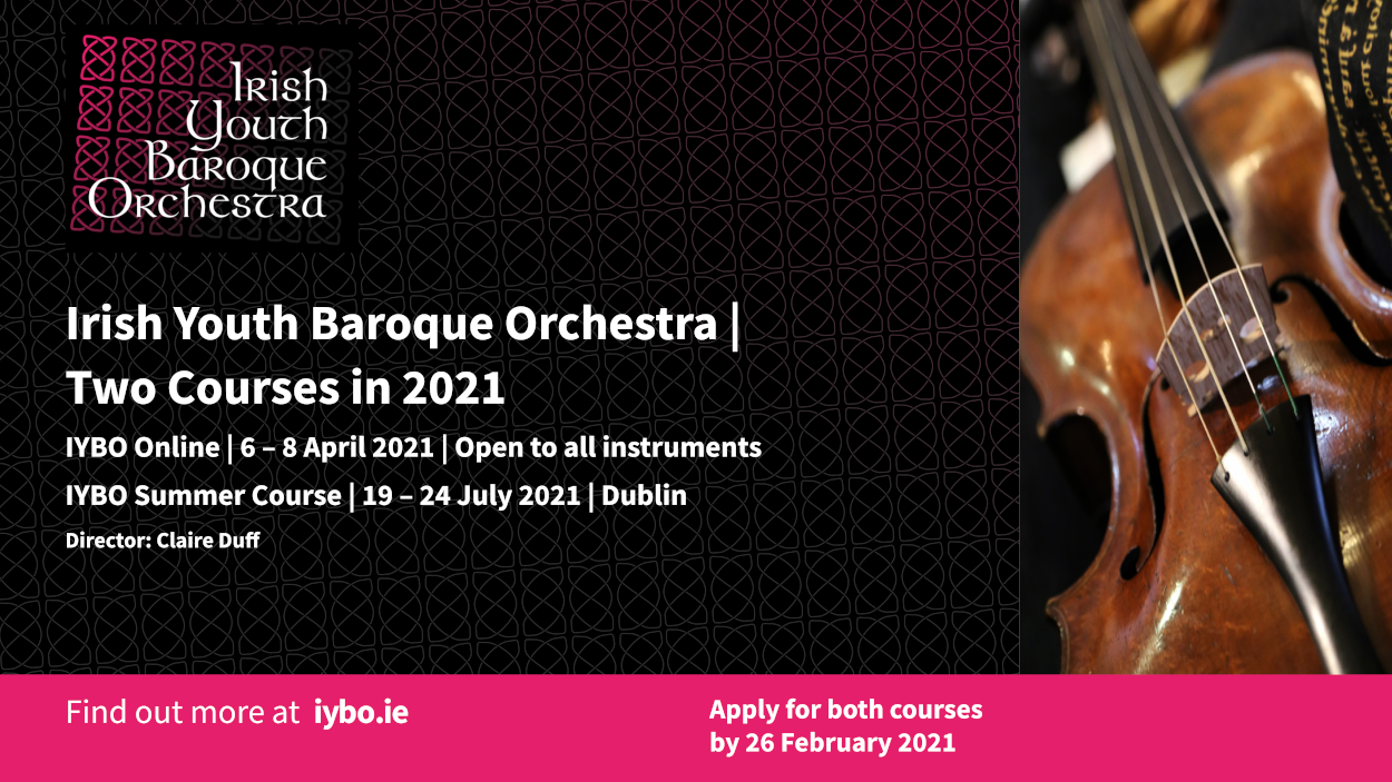 Irish Youth Baroque Orchestra Two Courses in 2021 flyer