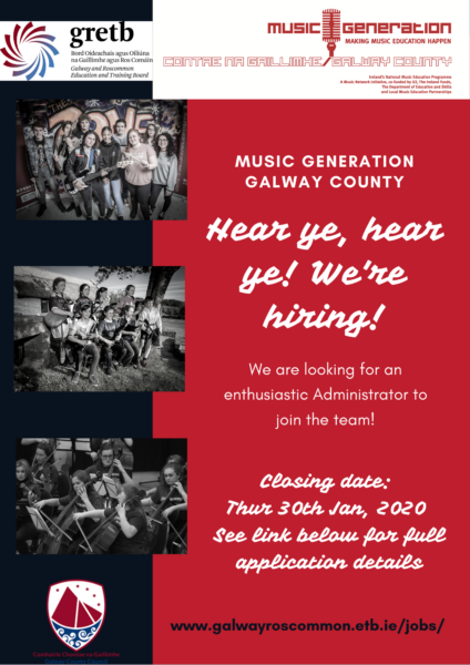 Advert for Music Generation Galway County Administrator role