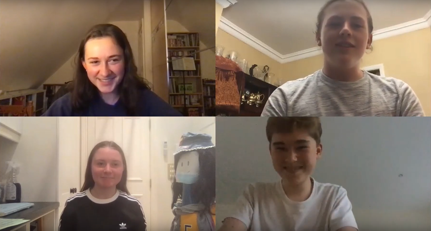 Zoom call with four young people