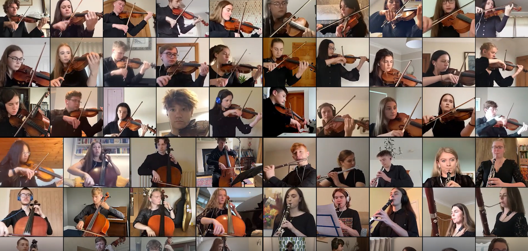 Image with loads of young musicians performing in their own Zoom boxes
